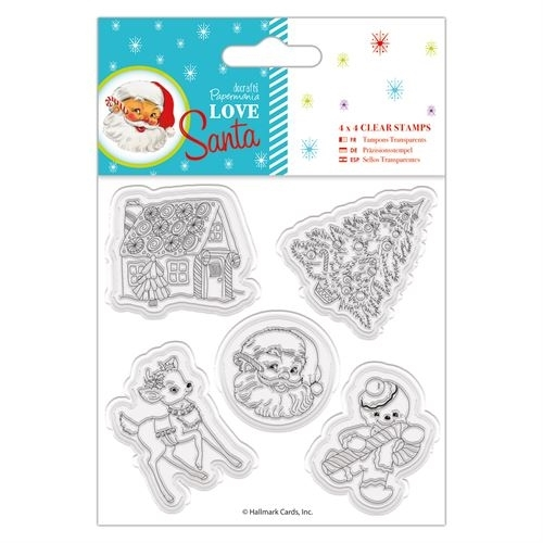 "4 x 4"" Clear Stamps - Love Santa - Mixed Icons"