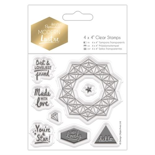 "4 x 4"" Clear Stamps - Modern Lustre - Sentiments"