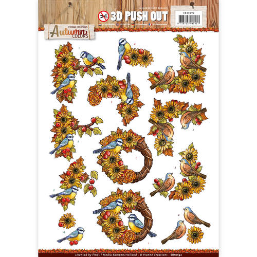 Pushout -Yvonne creations - Autumn Colors-Birds