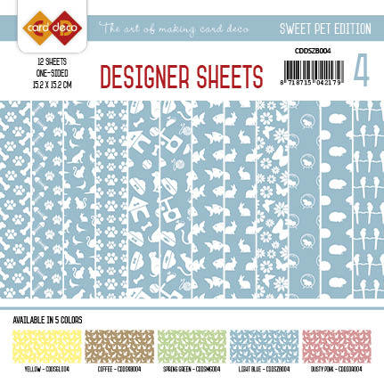 Card Deco - Designer Sheets - Pets- Zachtblauw