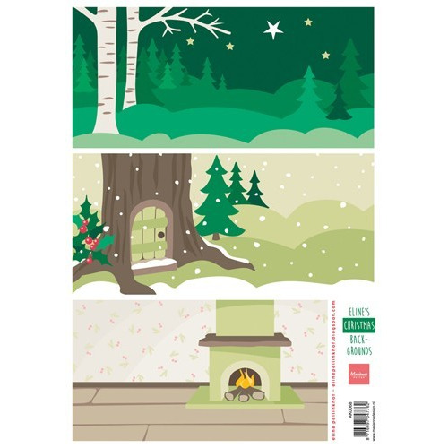 Marianne D 3D Knipvellen Eline`s Christmas backgrounds AK0068 A4 (09-17)