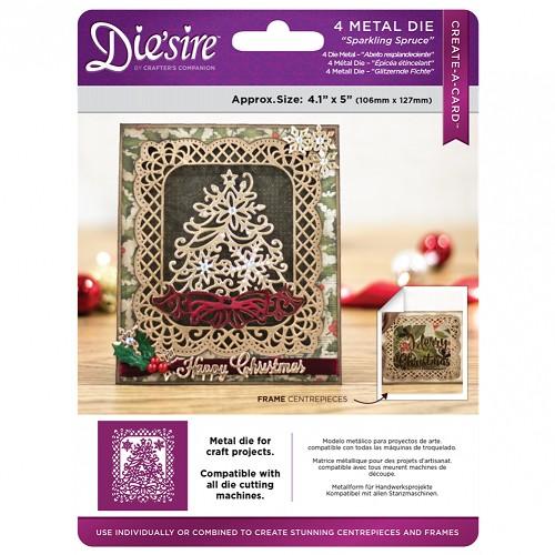 Die`sire 10.6x13 cm Create a Card kerst snijmal - Sparkling Spruce (Sprankelende spar)