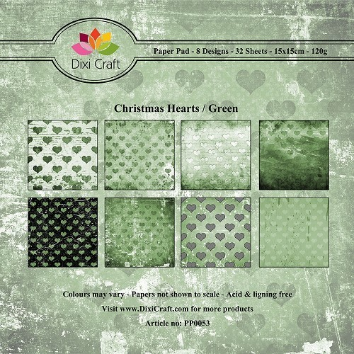 dixi craft- paper pack- christmas Hearts/Green
