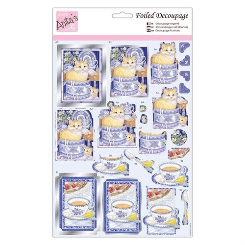 Foiled Decoupage - Cats at Teatime
