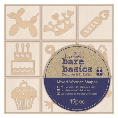 Wooden Shapes (45pcs) - Bare Basics - Celebration