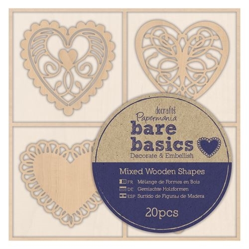 Wooden Shapes (20pcs) - Bare Basics - Filigree Hearts