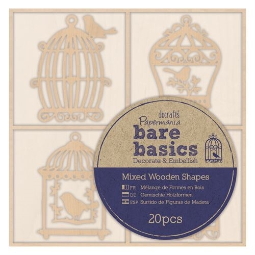 Wooden Shapes (20pcs) - Bare Basics - Birdcages