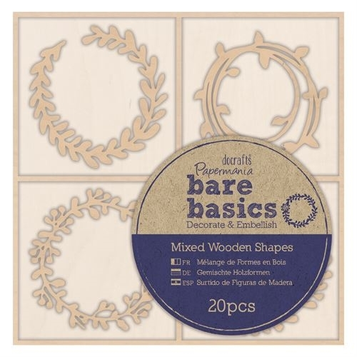Wooden Shapes (20pcs) - Bare Basics - Wreaths