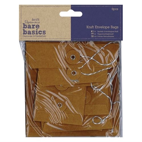 Kraft Envelope Bags (6pcs) - Bare Basics - Square Brown