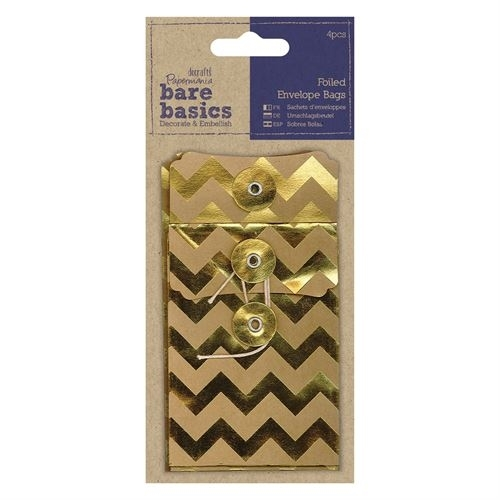 Foiled Envelope Bags (4pcs) - Bare Basics - Chevrons