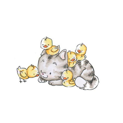 Kitty with Chicks