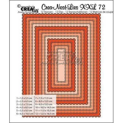 Crealies Crea-Nest-Lies XXL no 72 Rectangles with open scallop  max. 12,5x16,5 cm / CNLXXL72 (09-17)