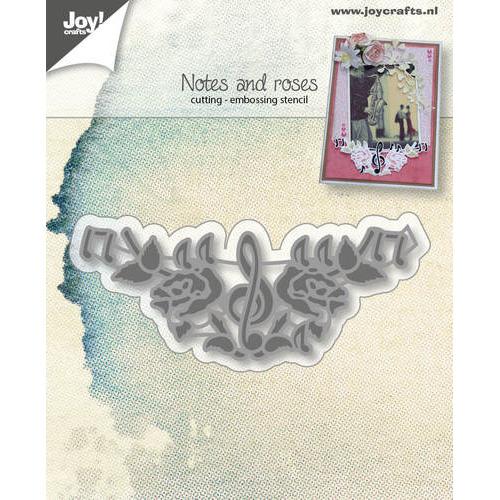 Snij-embosstencil - Muzieknoot en rozen