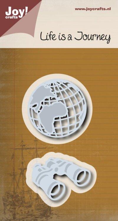 Snij-embosstencil - Wererdbol + verrekijker