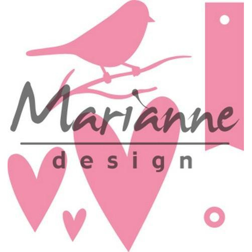 Marianne D Collectable Giftwrapping - Karin`s bird, hearts & tag COL1443 (10-17)