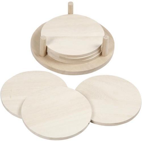 Houten onderzetters set van 6 in houder  12,5cm x 3,7cm