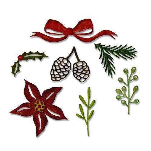 Sizzix Thinlits Die Set 9PK Festive Greens 662425 Tim Holtz (10-17)