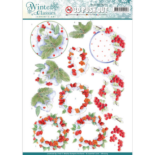 Jeanine`s Art - Winter Classics - Winterberries - 3D Push Out