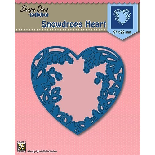 Shape Die Blue- Snowdrops heart