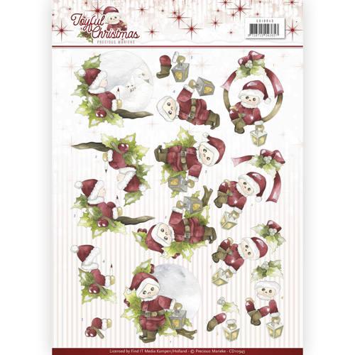 3D Knipvel - Precious Marieke - Joyful Christmas - Santa on branch