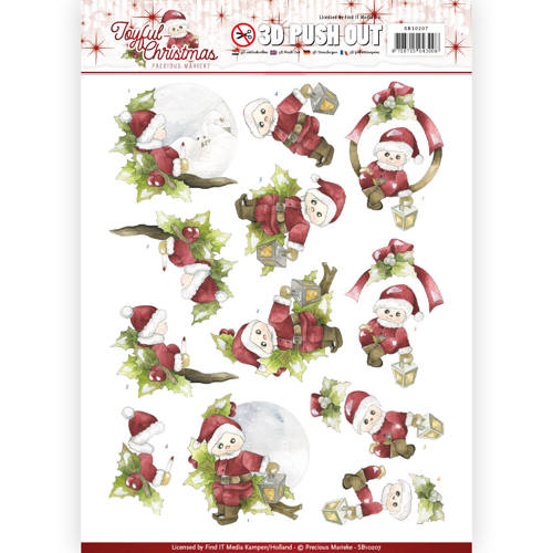 3D Pushout - Precious Marieke - Joyful Christmas - Santa on branch