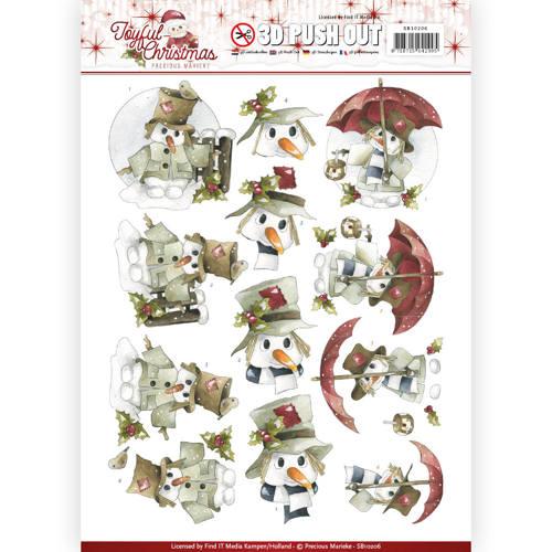 3D Pushout - Precious Marieke - Joyful Christmas - Snowman