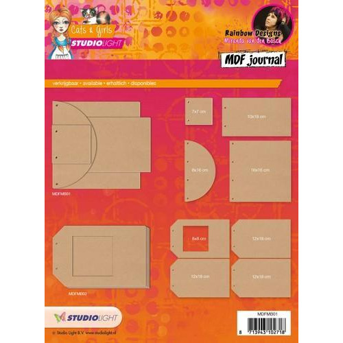 Studio Light MDF journal Mixed Media Rainbow Designs nr 01 MDFMB01 (10-17)