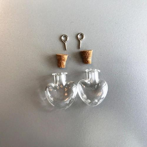 Mini glazen flesjes met kurk & schroef hart 2 ST 12423-2314 21x10x24mm