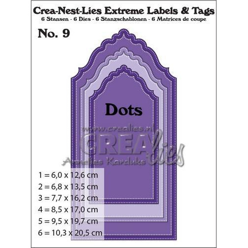 Crealies Crea-nest-lies Extreme labels&tags no 9 with dots CNLELT09 / max. 102,5 x 205 mm (11-17)
