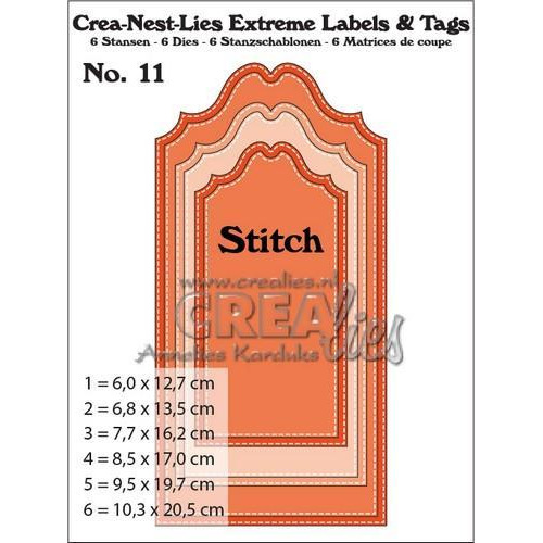 Crealies Crea-nest-lies Extreme labels&tags no 11 with dots CNLELT11 / max. 102,5 x 205 mm (11-17)