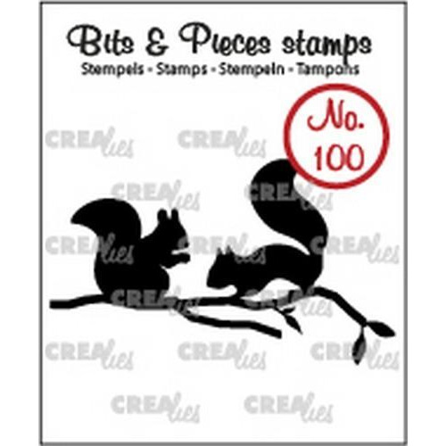 Crealies Clearstamp Bits&Pieces no. 100 eekhoorns 31 x 52mm  / CLBP100 (11-17)