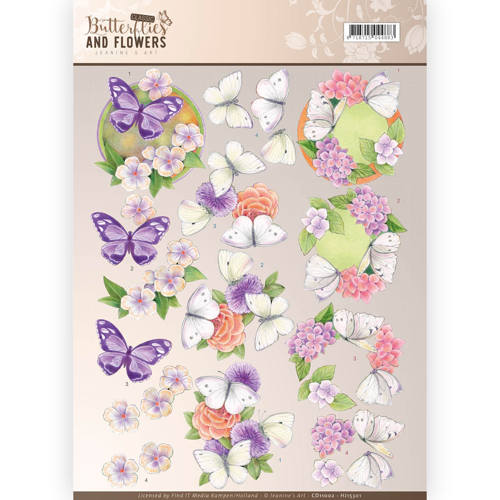 3D Knipvel - Jeanine`s Art - Classic Butterflies and Flowers - Purple Flowers