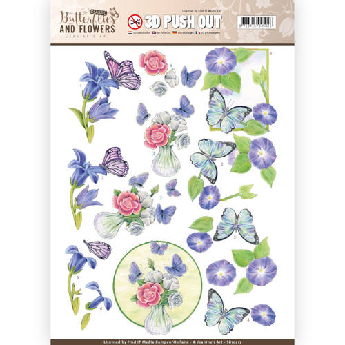 3D Push Out - Jeanine`s Art - Classic Butterflies and Flowers - Butterflies on blue flowers
