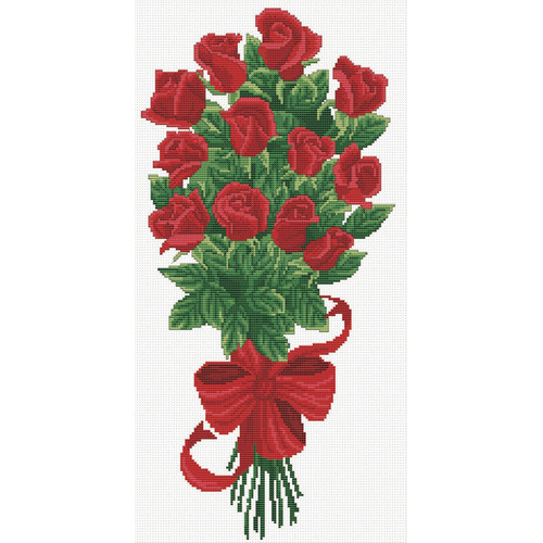 340.003 No-Count Cross Stitch Kits Bouquet of Red Rose Buds 21x43cm