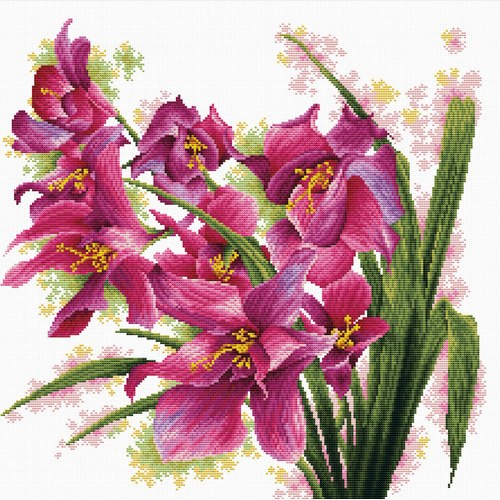 640.070 No-Count Cross Stitch Kits Lovely Orchids 39x39cm