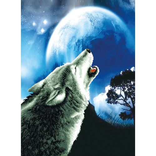 650.027 No-Count Cross Stitch Kits Howling Wolf 46,4x63cm