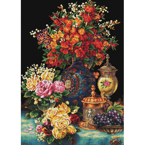 850.034 No-Count Cross Stitch Kits Classic Flowers 58x81cm