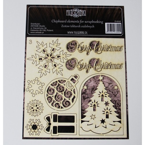 Filigranki Laser Cut Chipboards CHRISTMAS SET 9pcs