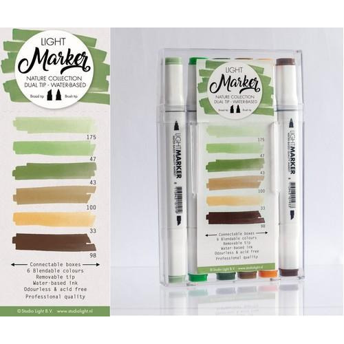 Studio Light Box 6 water based dual tip markers nature MARKER04