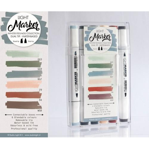 Studio Light Box 6 water based dual tip markers winter feelings MARKER07