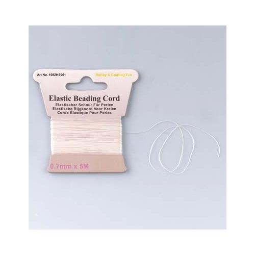10829-7001 Elastic beading cord, White, 0.7mmx5m/header card