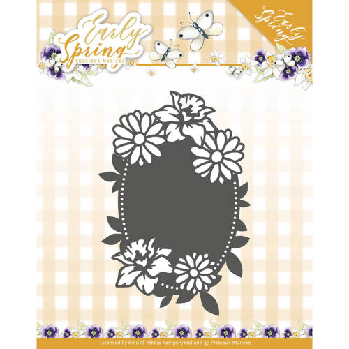 Dies - Precious Marieke - Early Spring - Spring Flowers Oval label