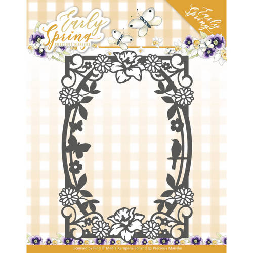 Dies - Precious Marieke - Early Spring - Spring Flowers Rectangle Frame
