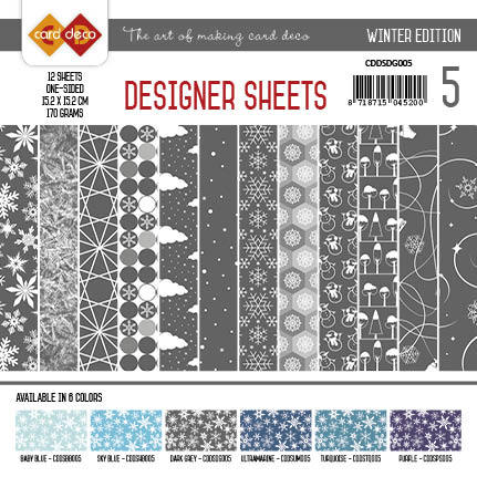 Card Deco - Designer Sheets - Winter Edition donkergrijs