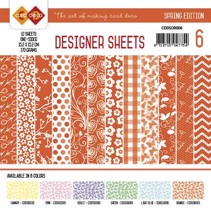 Card Deco - Designer Sheets - Spring Edition oranje