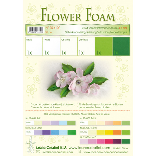 Flower foam assortment set 6 white - green