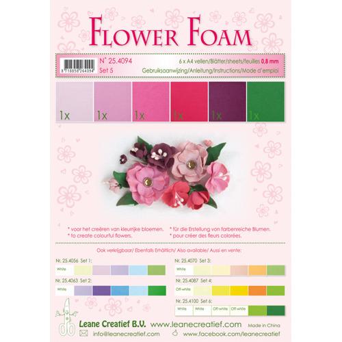 Flower foam assortment set 5 red-pink