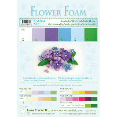 Flower foam assortment set 2 blue-violet