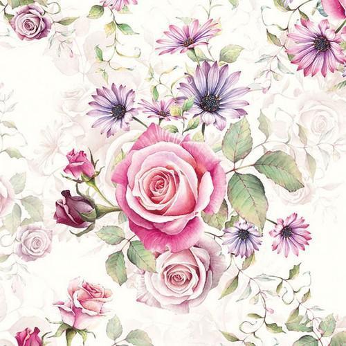 CraftEmotions servetten 5st - Rozen roze en lila 33x33cm Ambiente 13311340