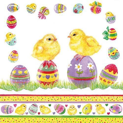 CraftEmotions servetten 5st - Kuikens op eieren 33x33cm Ambiente 23311700